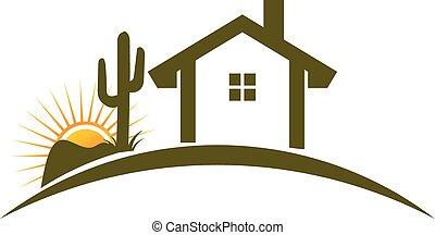 maison, désert, logo