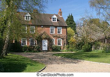 maison, détaché, historique, village
