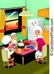 maison, dîner, musulman, manger, famille