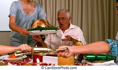 maison, dîner, noël, famille, avoir