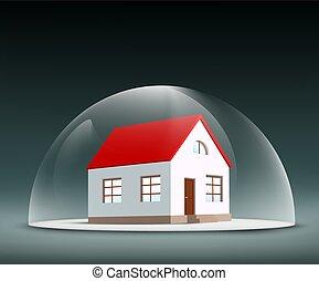 maison, dôme, sous