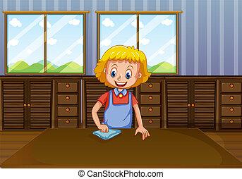 maison, dame, nettoyage, heureux