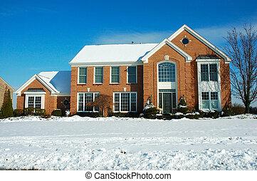 maison, dans, hiver