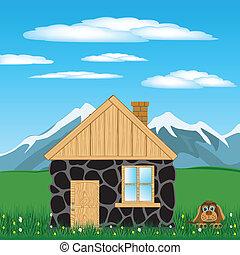 maison, dans, montagne