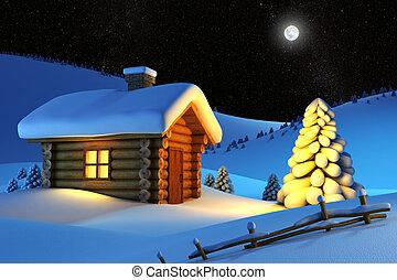 maison, dans, neige, montagne