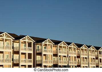 maison de plusieurs pièces, à, balcons, usa