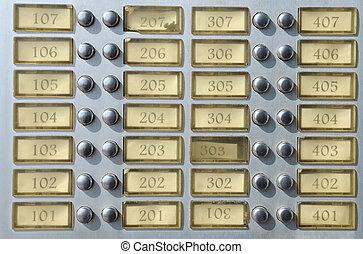 maison de plusieurs pièces, sonnette, plaque, à, nombres