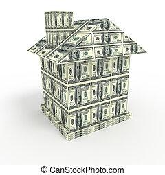 maison, depuis, argent, isolé, sur, white., concept affaires