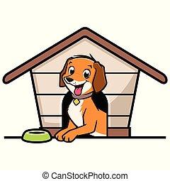 maison, dessin animé, chien