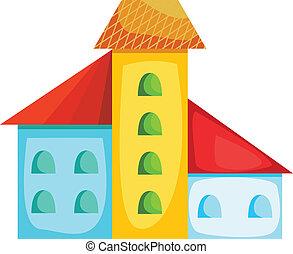 maison, dessin animé, coloré
