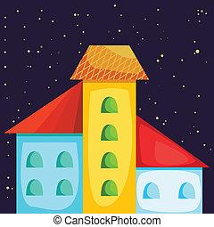 maison, dessin animé, coloré, nuit