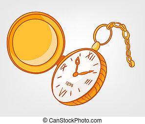 maison, dessin animé, horloge