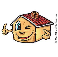 maison, dessin animé, pouce-vers haut, heureux