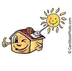 maison, dessin animé, soleil