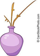 maison, dessin animé, vase