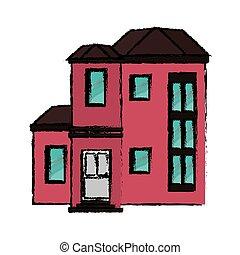 maison, dessin, coûteux, urbain