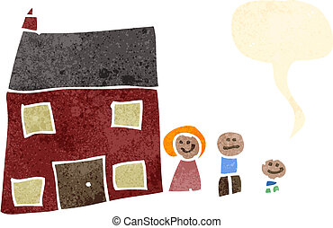 maison, dessin, famille, enfant