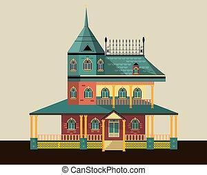 maison, dessin, grand