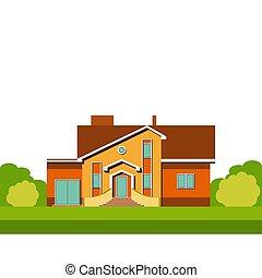 maison, deux-histoire, single-family, coloré, résidentiel