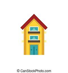 maison, deux, jaune, étage, petit, icône