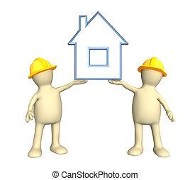 maison, deux, stylisé, tenant mains, constructeurs