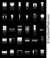 maison, différent, espèce, icônes
