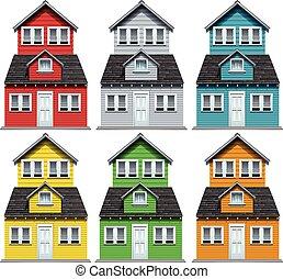 maison, différent, six, couleurs