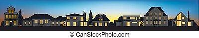 maison, différent, vecteur, silhouettes, architectural
