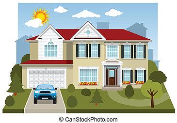 maison, (diorama), famille