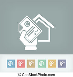 maison, document, icône