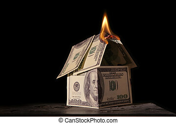 maison, dollars, brûlé