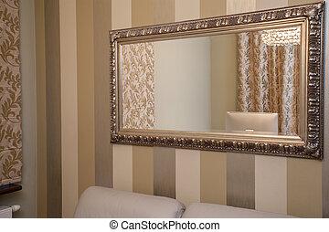 maison, -, doré, travertin, miroir