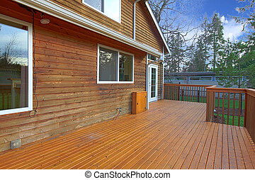 maison, dos, porche