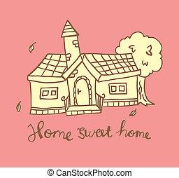 maison, doux, griffonnage