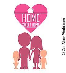 maison, doux, vecteur, illustration., conception