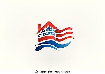 maison, drapeau américain, logo