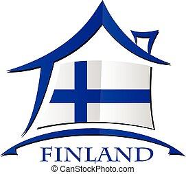 maison, drapeau, fait, icône, finlande