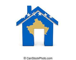 maison, drapeau, kosovo