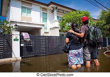 maison, eaux, dépasser, thaïlande, inondation