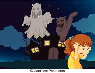 maison, effrayé, hanté, girl, fantômes