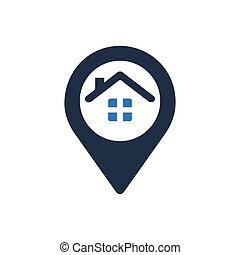 maison, emplacement, icône