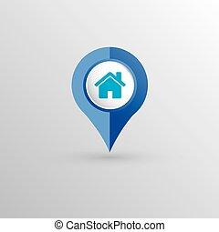 maison, emplacement, indicateur