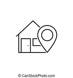 maison, emplacement, ligne, icône