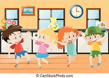 maison, enfants, danse