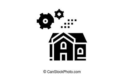 maison, engrenages, glyph, animation, icône, mécanique
