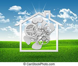maison, engrenages, icône
