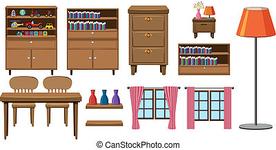 maison, ensemble, collection, meubles