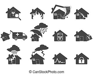 maison, ensemble, désastre, icône
