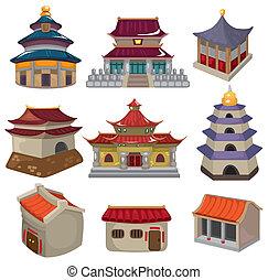 maison, ensemble, dessin animé, chinois, icône