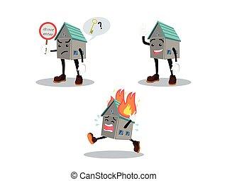 maison, ensemble, dessin animé